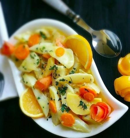 Zytinyağlı ayvalı portakallı kereviz yemeği tarifi