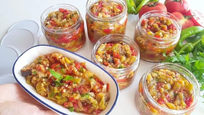 Kışlık hazırlıkları patlıcan salatası